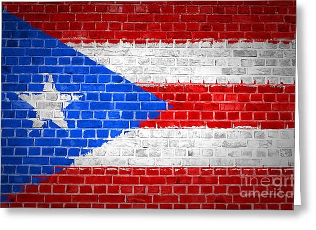 Old Wall Greeting Cards - Brick Wall Puerto Rico Greeting Card by Antony McAulay