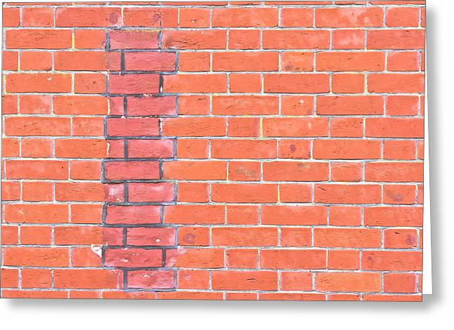 Patch Work Greeting Cards - Brick wall repair Greeting Card by Tom Gowanlock