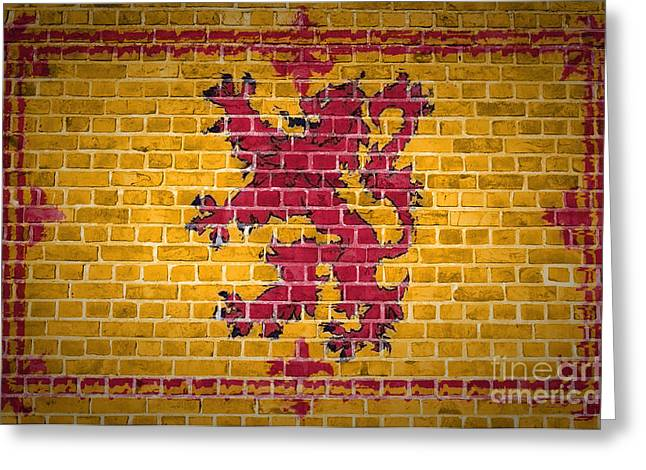 Rampant Greeting Cards - Brick Wall Scotland Lion Rampant Greeting Card by Antony McAulay