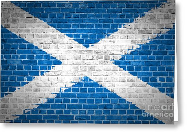 Stonewall Greeting Cards - Brick Wall Scotland Saltire Greeting Card by Antony McAulay