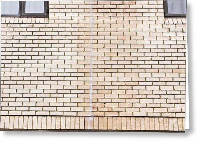 Adhesive Greeting Cards - Brick wall sealant Greeting Card by Tom Gowanlock