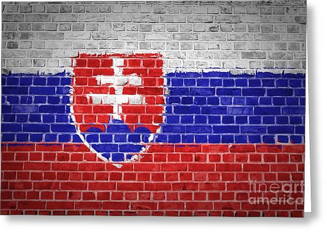 Old Wall Greeting Cards - Brick Wall Slovakia Greeting Card by Antony McAulay