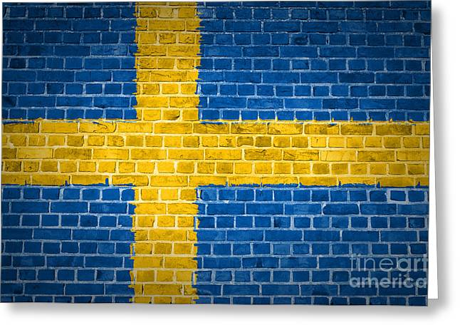 Sweden Digital Art Greeting Cards - Brick Wall Sweden Greeting Card by Antony McAulay