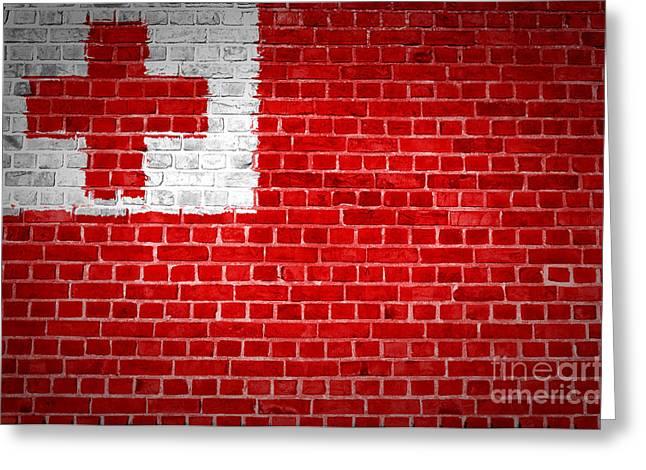 Tonga Greeting Cards - Brick Wall Tonga Greeting Card by Antony McAulay