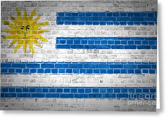Uruguay Greeting Cards - Brick Wall Uruguay Greeting Card by Antony McAulay