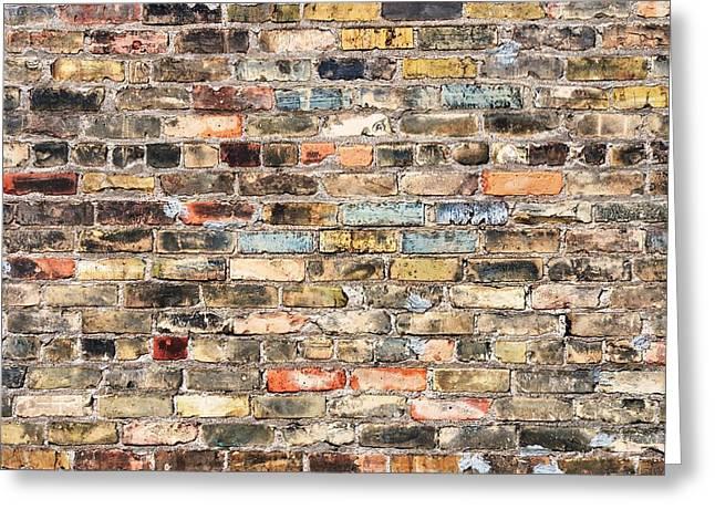 Old Wall Photographs Greeting Cards - Brick Wall With History Greeting Card by Jim Hughes