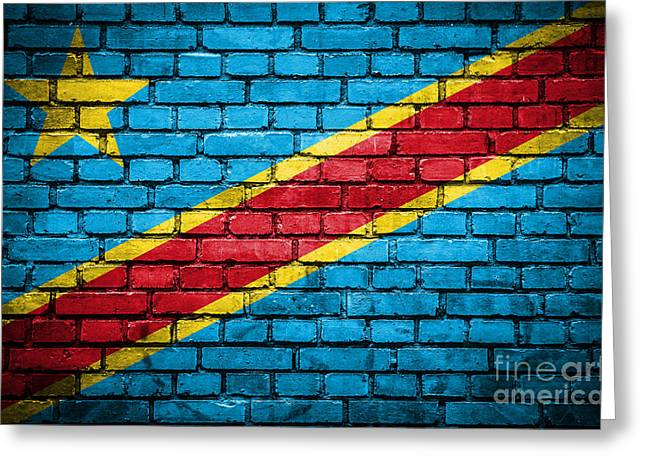 Congo Decor Greeting Cards - Brick wall with painted flag of Congo Democratic Republic Greeting Card by Aleksandar Mijatovic