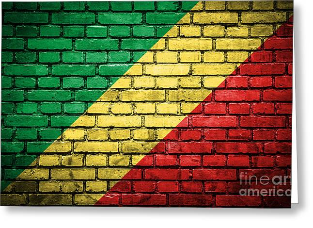 Congo Decor Greeting Cards - Brick wall with painted flag of Congo Republic Greeting Card by Aleksandar Mijatovic