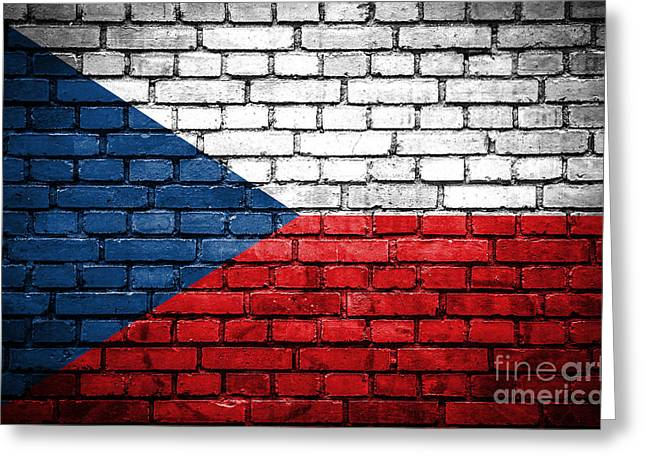 Czech Flag Greeting Cards - Brick wall with painted flag of Czech Republic Greeting Card by Aleksandar Mijatovic