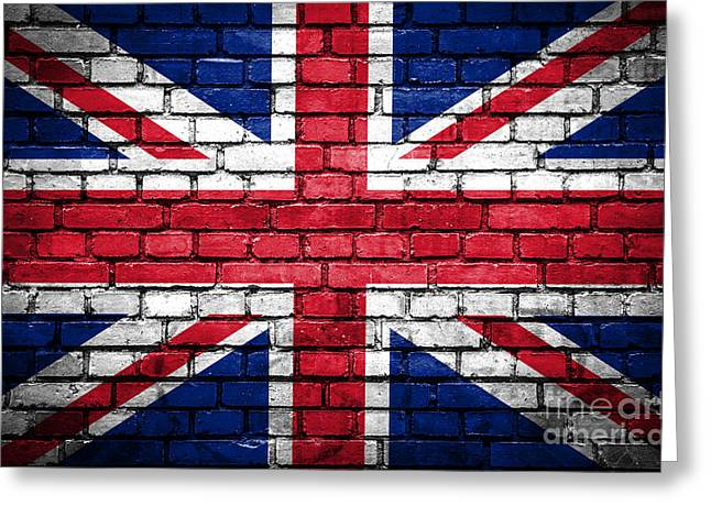 Union Square Greeting Cards - Brick wall with painted flag of Great Britain Greeting Card by Aleksandar Mijatovic