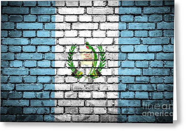 Guatemalan Home Greeting Cards - Brick wall with painted flag of Guatemala Greeting Card by Aleksandar Mijatovic