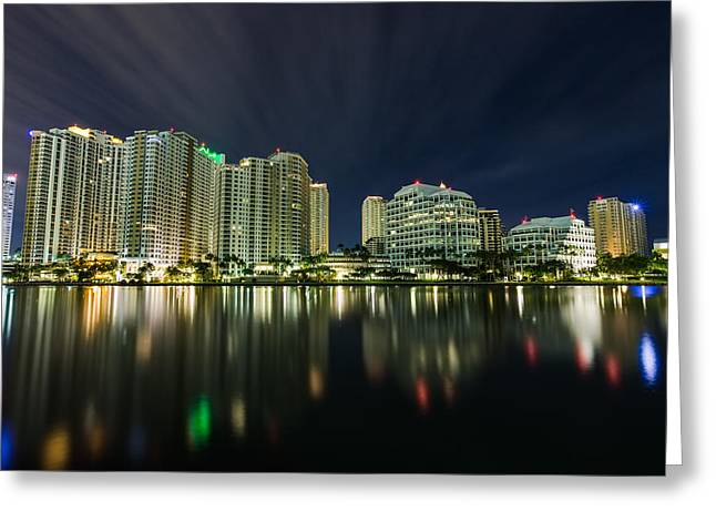 Ocean Greeting Cards - Brickell Key Night Cityscape Greeting Card by Andres Leon