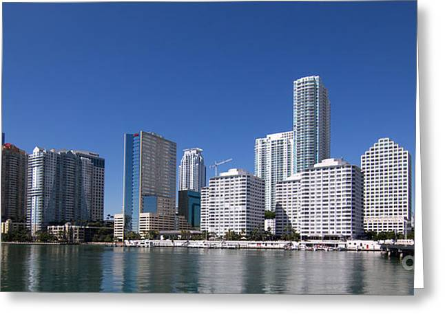 Miami Pyrography Greeting Cards - Brickell Skyline Greeting Card by Carolina Mendez