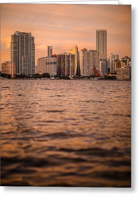 Brickell Greeting Cards - Brickell Sunset Greeting Card by Dan Vidal
