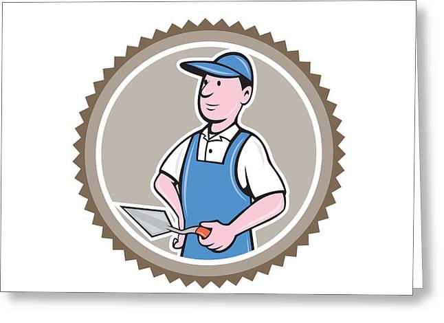 Rosette Digital Art Greeting Cards - Bricklayer Mason Plasterer Rosette Cartoon Greeting Card by Aloysius Patrimonio