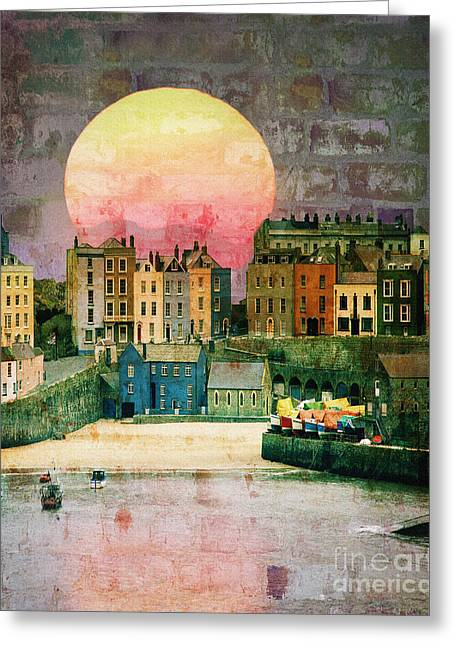 Sunset Over The Village Greeting Cards - Bricks and Mortar Greeting Card by Edmund Nagele