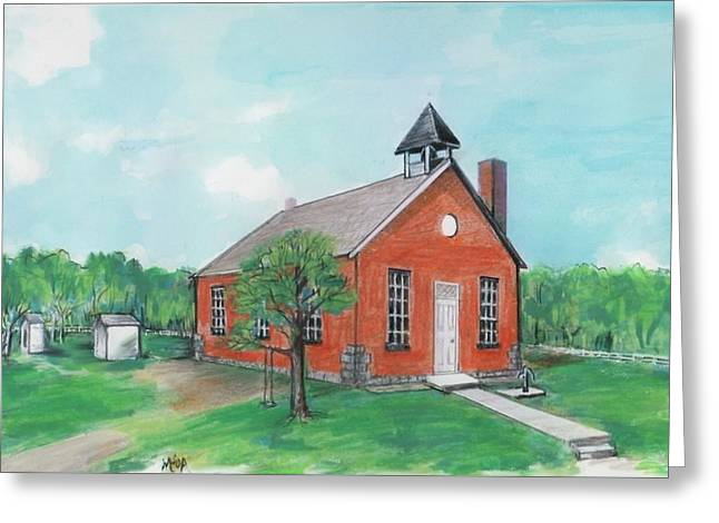 Brick Schools Mixed Media Greeting Cards - Bricktown School Greeting Card by Mary Armstrong