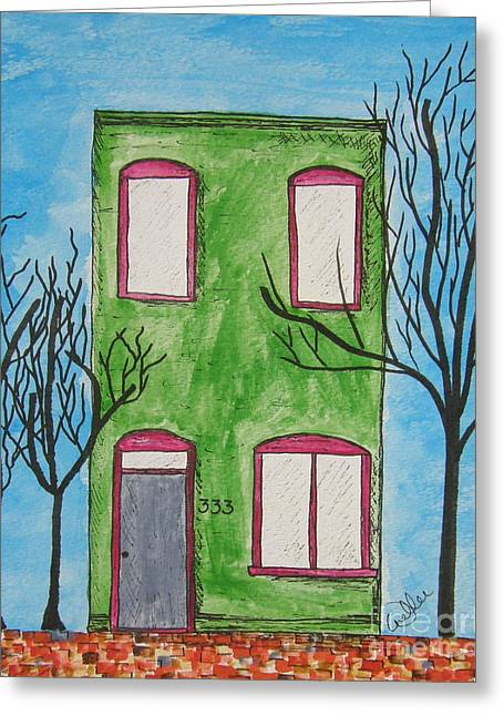Residential Drawings Greeting Cards - Brickwall Greeting Card by Marcia Weller-Wenbert