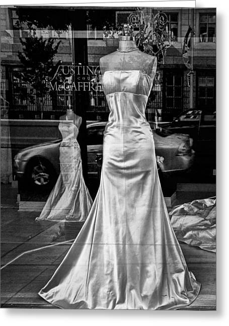 Apparel Greeting Cards - Bridal Dress Display Mannequins in storefront window in Black and White Greeting Card by Randall Nyhof