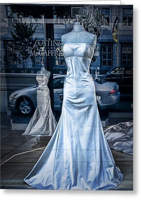 Selling Fine Art Greeting Cards - Bridal Dress Window Display in Ottawa Ontario Greeting Card by Randall Nyhof