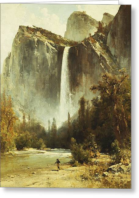 Rapid Paintings Greeting Cards - Bridal Falls Greeting Card by Thomas Hill