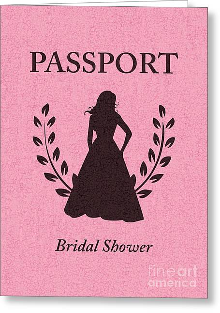 Special Occasion Digital Art Greeting Cards - Bridal Shower Passport Invitation  Greeting Card by Asyrum Design
