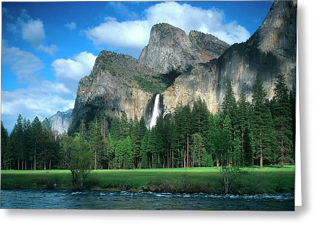 Bridal Veil Falls In California's Greeting Card by John Alves