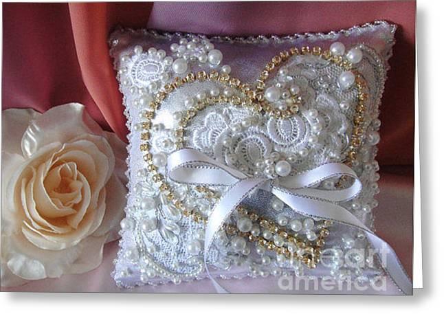 Ring Tapestries - Textiles Greeting Cards - Bridal Wedding Ring Pillow. Ameynra fashion Greeting Card by Ameynra Fashion