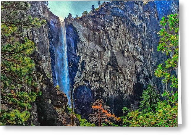 Cathedral Rock Greeting Cards - Bridalveil Falls in Yosemite Valley Greeting Card by  Bob and Nadine Johnston