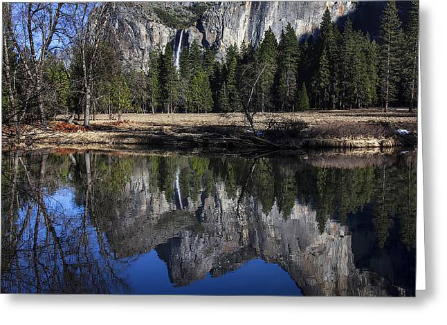 Bridalveil Falls Greeting Cards - Bridalveil Falls Reflection  Greeting Card by Garry Gay