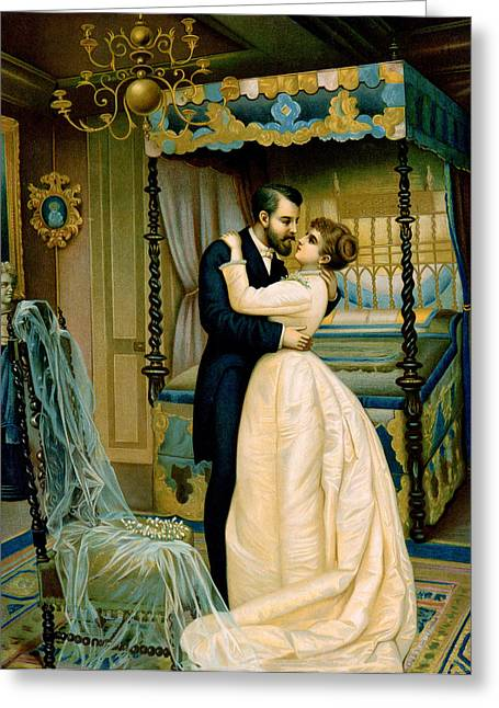 Embrace Greeting Cards - Bride and Bridegroom Greeting Card by French School