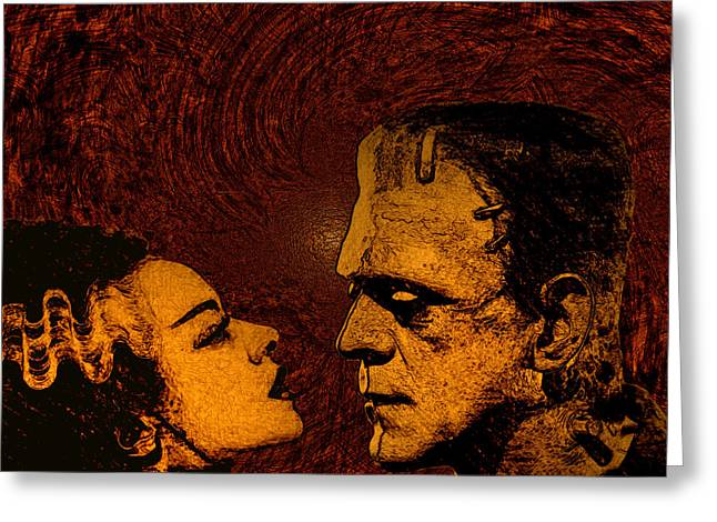 Universal Monsters Greeting Cards - Bride and Groom bronze ed. Greeting Card by Brian Dearth