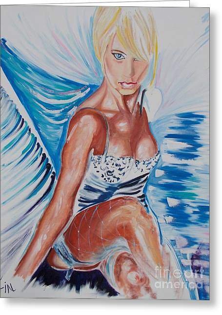 Corsette Greeting Cards - Bride Angel Greeting Card by PainterArtist FIN