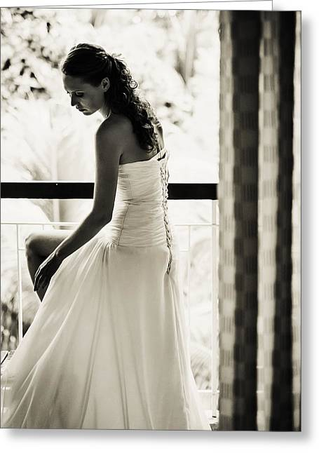 Design Element For Wedding Salon Greeting Cards - Bride at the Balcony II. Black and White Greeting Card by Jenny Rainbow