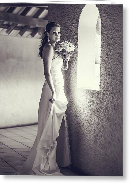Design Element For Wedding Salon Greeting Cards - Bride at the Window. Black and White Greeting Card by Jenny Rainbow