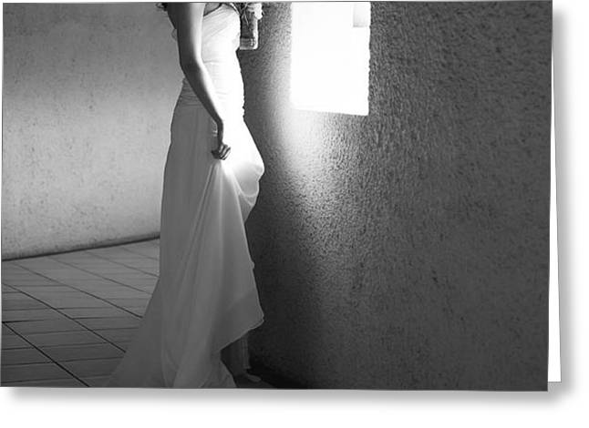 Bride at the Window I. Black and White Greeting Card by Jenny Rainbow