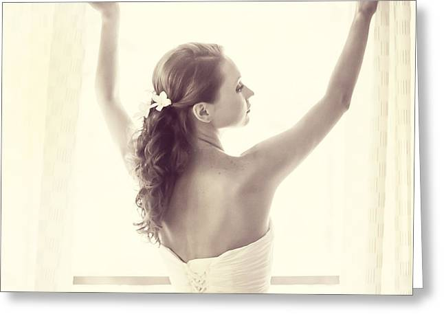 Design Element For Wedding Salon Greeting Cards - Bride at the Window Greeting Card by Jenny Rainbow