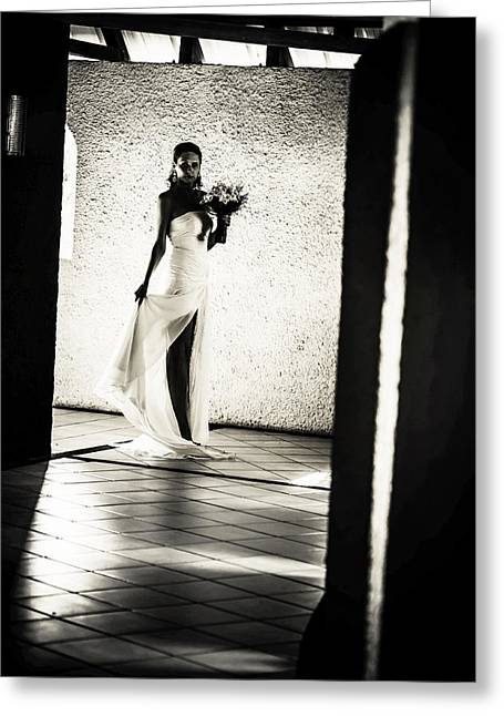 Design Element For Wedding Salon Greeting Cards - Bride. Black and White Greeting Card by Jenny Rainbow