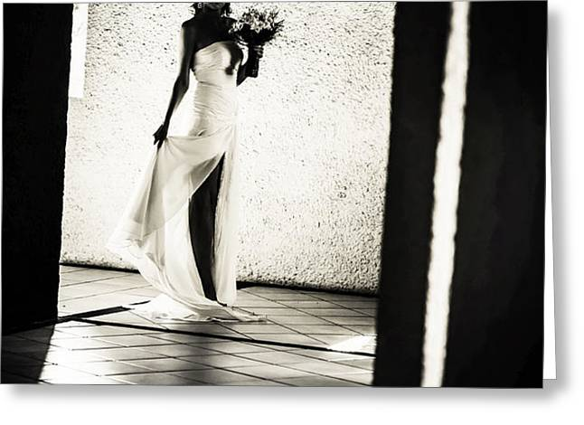 Bride. Black and White Greeting Card by Jenny Rainbow