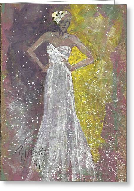 Bride To Be Greeting Cards - Bride Deciding Greeting Card by P J Lewis