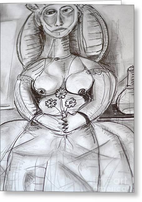 Robert Daniels Drawings Greeting Cards - Bride Holding Three Flowers Greeting Card by Robert Daniels