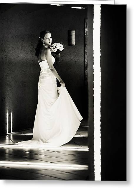 Design Element For Wedding Salon Greeting Cards - Bride I. Black and White Greeting Card by Jenny Rainbow