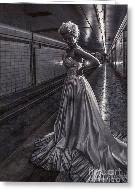 Suicide Greeting Cards - Bride in the Subway Greeting Card by Diane Diederich