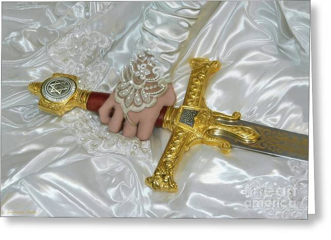 Bride Of Christ Sword Greeting Card by Constance Woods