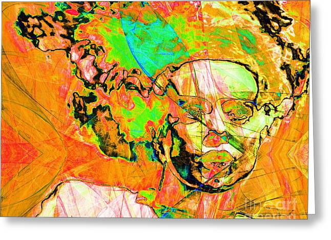 Science Fiction Greeting Cards - Bride of Frankenstein in Abstract 20140908 orange horizontal Greeting Card by Wingsdomain Art and Photography