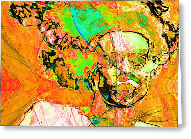 Wife Digital Art Greeting Cards - Bride of Frankenstein in Abstract 20140908 orange square Greeting Card by Wingsdomain Art and Photography