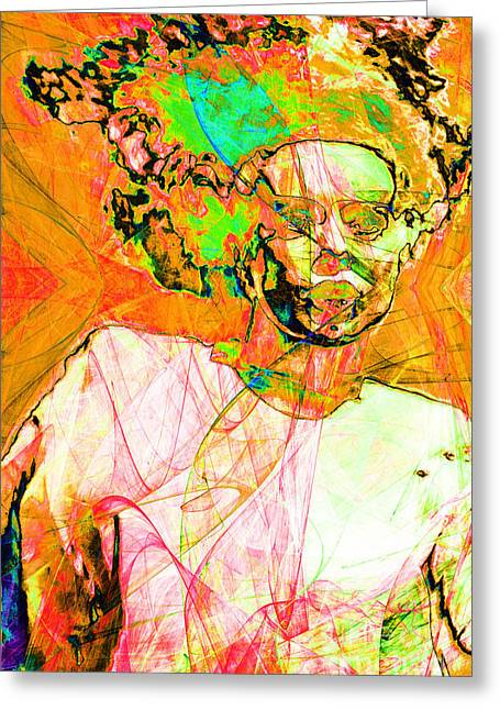 Science Fiction Greeting Cards - Bride of Frankenstein in Abstract20140908 orange Greeting Card by Wingsdomain Art and Photography