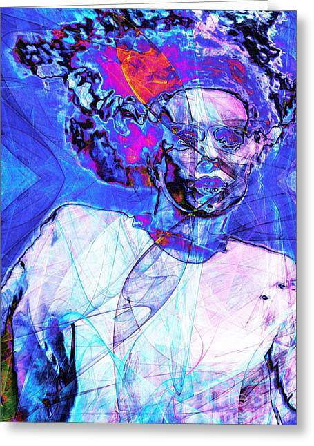 Science Fiction Greeting Cards - Bride of Frankenstein in Abstract 20140908 blue Greeting Card by Wingsdomain Art and Photography