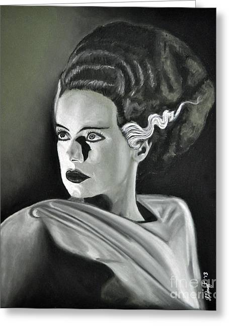 Classic Horror Greeting Cards - Bride of Frankenstein Greeting Card by Joe Dragt