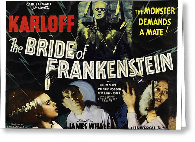 Horror Movies Photographs Greeting Cards - BRIDE of FRANKENSTEIN LOBBY POSTER 1935 Greeting Card by Daniel Hagerman